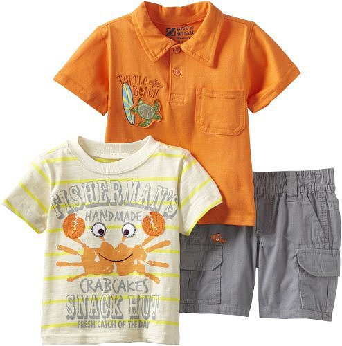 Nannette Baby-boys Infant 3 Piece Knit Shirt Pullover and Woven Short Set