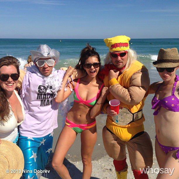 Nina Dobrev encountered some interesting beachgoers. Source: Nina Dobrev on WhoSay