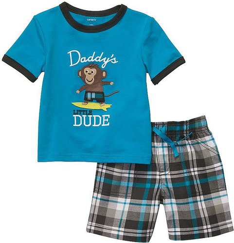 Carter's monkey tee and plaid shorts set - toddler