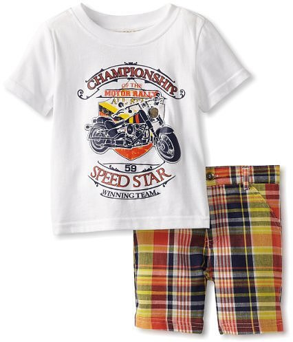 Carter's Watch the Wear Boys 2-7 Motorcycle Top with Plaid Shorts