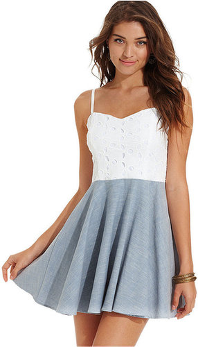 Urban Hearts Juniors Dress, Sleeveless Eyelet Chambray Skater