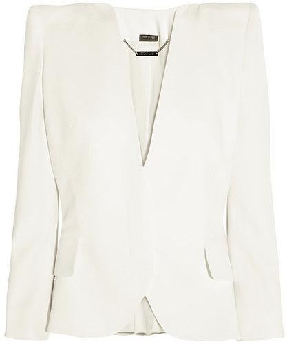 Alexander McQueen Sharp-shoulder crepe peplum jacket