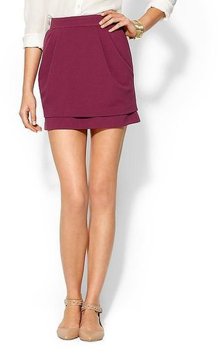 Tinley Road Double Layer Ribbed Ponte Mini Skirt