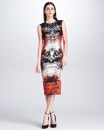 Roberto Cavalli Printed Midi Sheath Dress, Mona Lisa Red