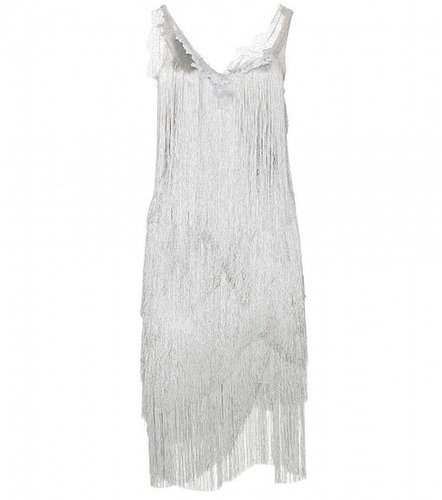 Nina Ricci LACE AND FRINGE TIERED DRESS