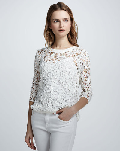 Dolce Vita Abelle Lace-Crochet Sheer Top