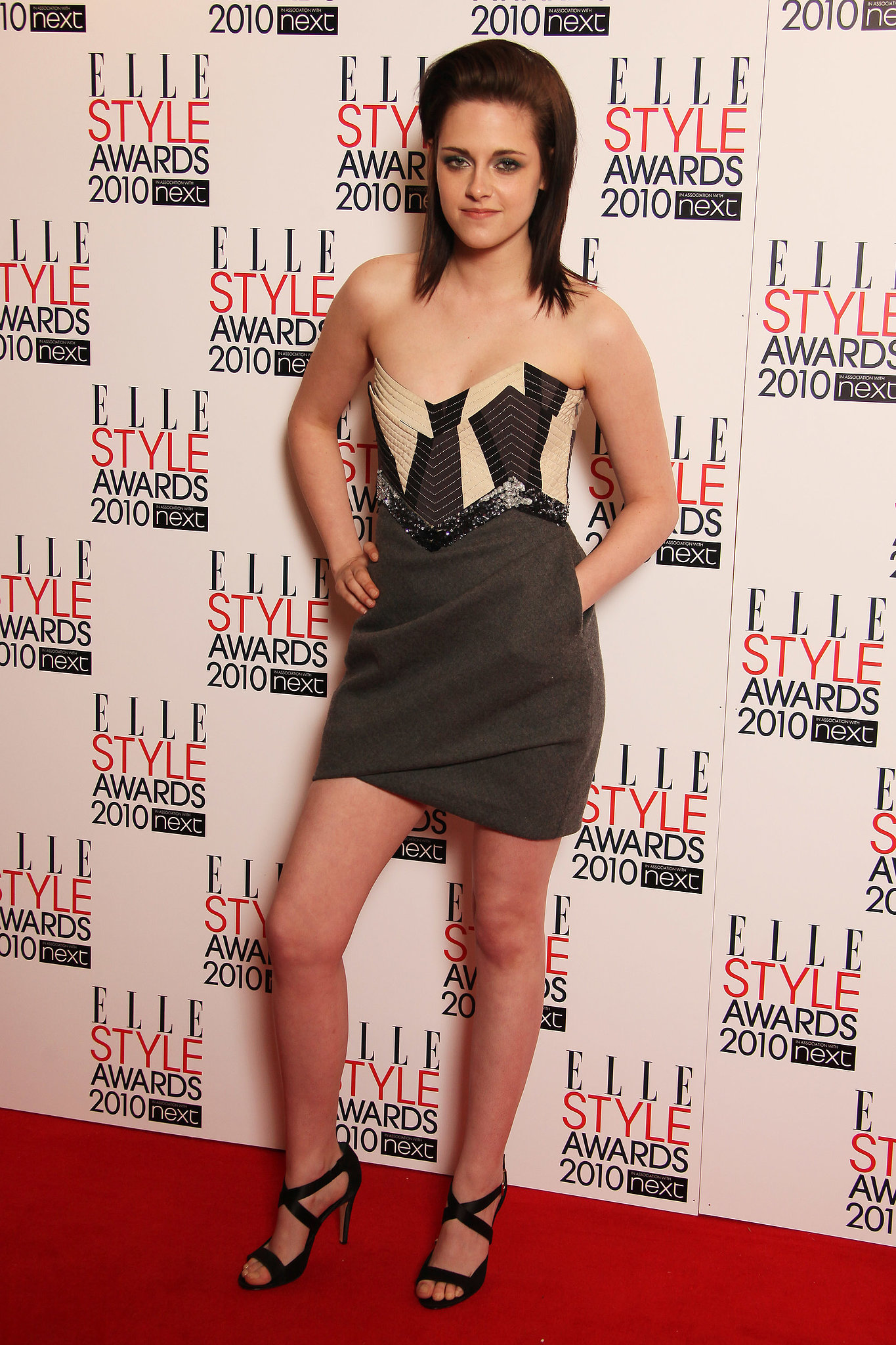 A crystal-encrusted bodice kept Stewart's Emilio Pucci dress from looking too casual for Elle's 2010 Style Awards.