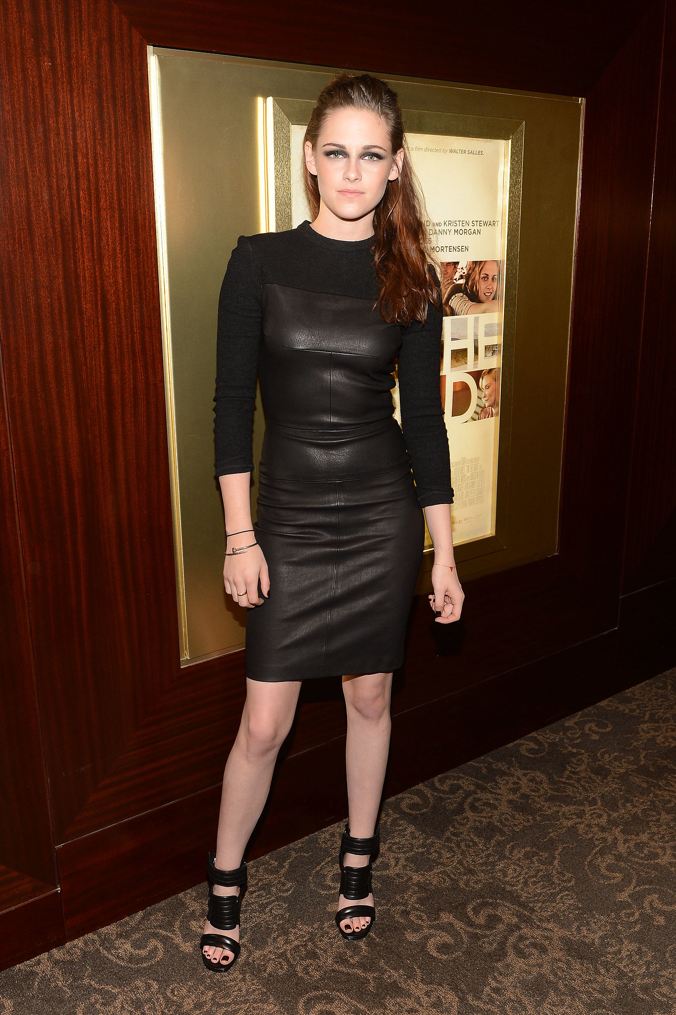 The actress continued her fashion roll in an elegantly edgy A.L.C. wool and leather sheath dress at an On the Road screening in NYC in 2012. Stewart completed her enviable look with a pair of Barbara Bui cutout sandals and a few funky bangles.