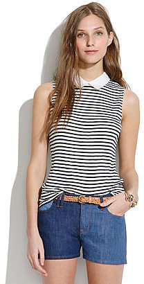 Collar tee in nautical stripe