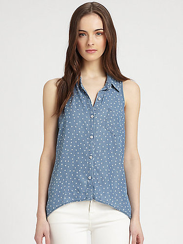 Splendid Printed Chambray Blouse