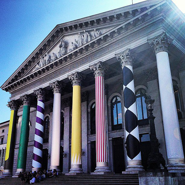 Print-loving Mary Katrantzou couldn't resist a snap of Munich's Opera House dressed in graphic decor. Source: Instagram user marykatrantzou