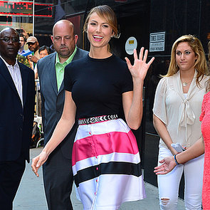 Stacy Keibler Wearing a Striped Skirt