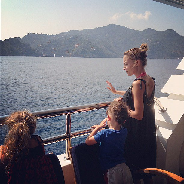 Nicole Richie relaxed with her kids, Sparrow and Harlow Madden, on a yacht in Italy. Source: Instagram user joelmadden