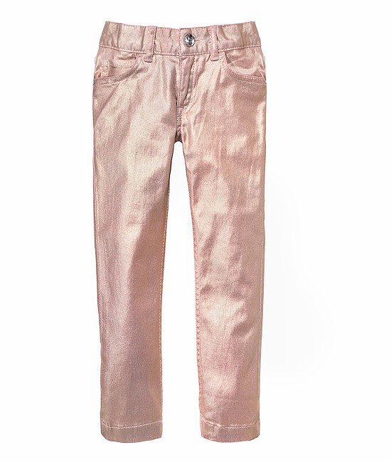 Rosy metallic pants can be dressed up for special occasions or dressed down for playdates and weekend wear.