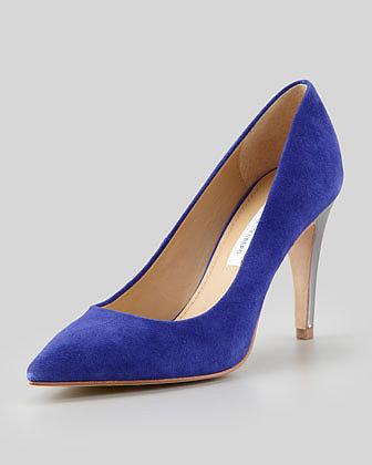 Diane von Furstenberg Anette Metallic-Heel Suede Pump, Blue