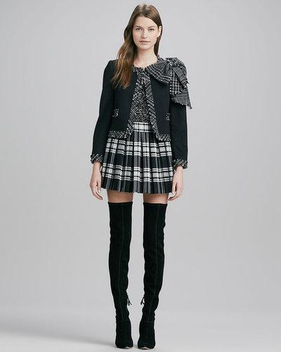 Alice + Olivia Fizer Box-Pleated Plaid Skirt