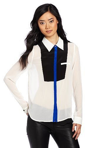 aryn K Women's Collared Tuxedo Blouse