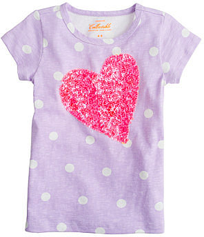 Girls' dot tee with sequin heart