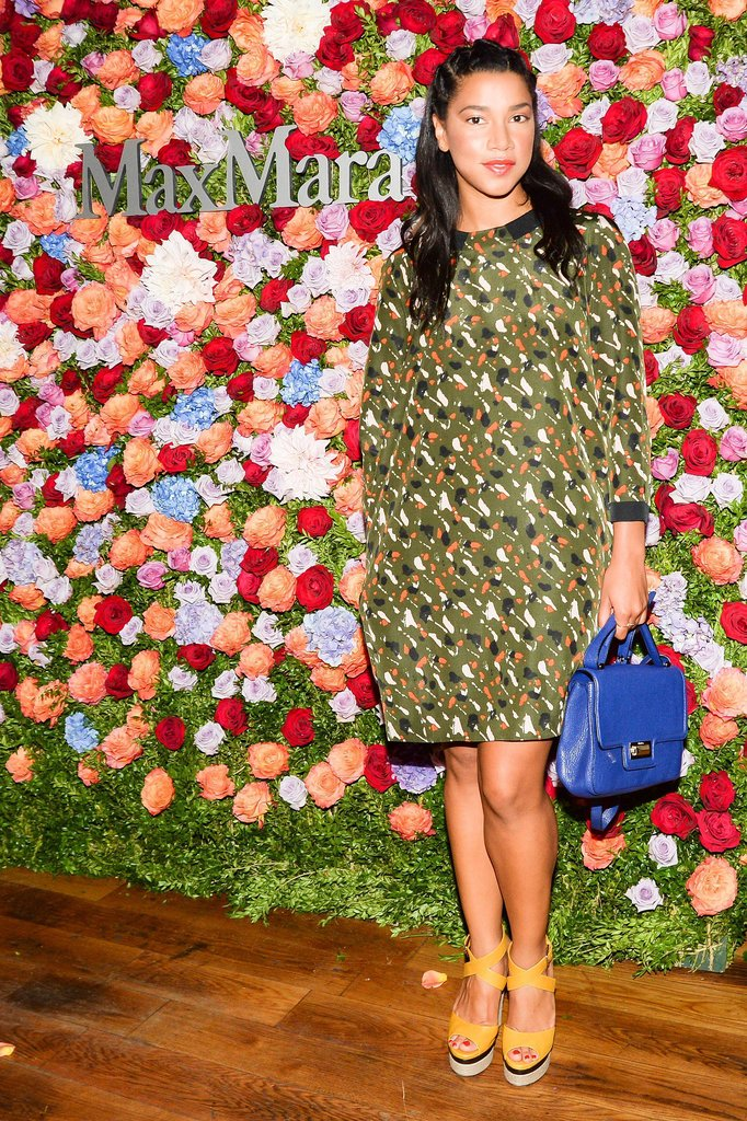 At the Max Mara party, Hannah Bronfman stood out in a splattered shift and primary accessories.