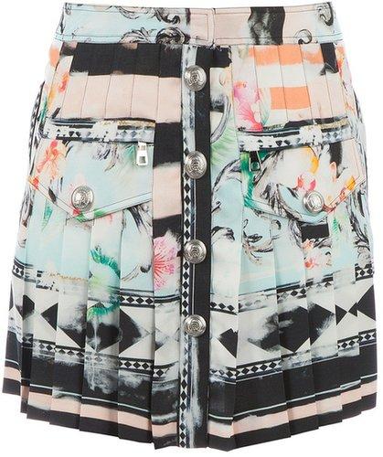Balmain printed pleat skirt