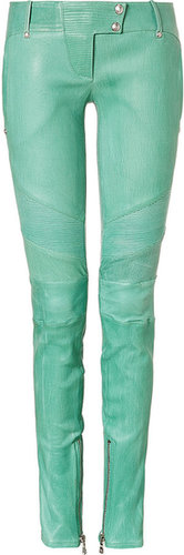 Balmain Mint Low Rise Skinny Leather Pants