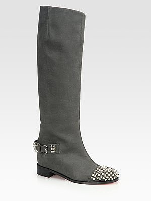 Christian Louboutin Egoutina Studded Leather Knee-High Boots