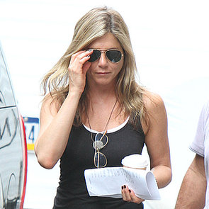 Jennifer Aniston in Purple Miniskirt on Set