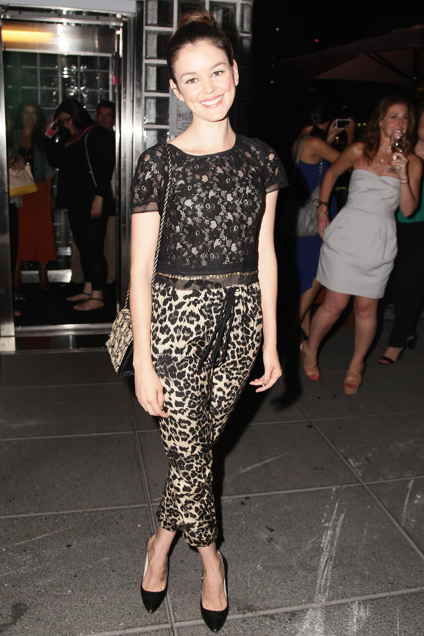 Nora Zehetner gave us the chicest take on animal print with this easy look at an NYC film screening. Source: Matteo Prandoni/BFAnyc.com