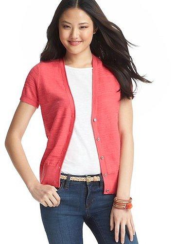 Textured Short Sleeve Cotton Cardigan