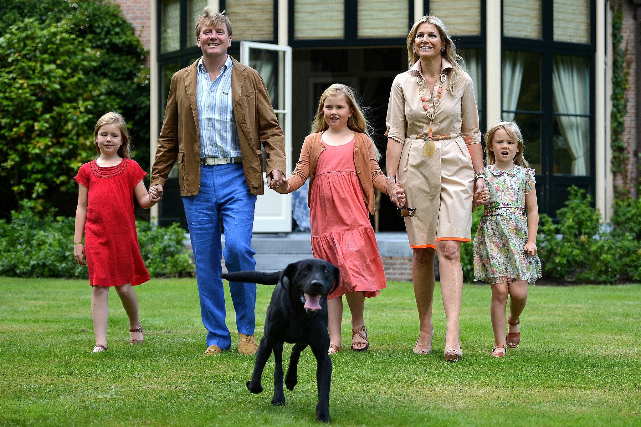 King Willem-Alexander, Queen Maxima, their dog Skipper, and the girls walked at Horsten Estate in Wassenaar.