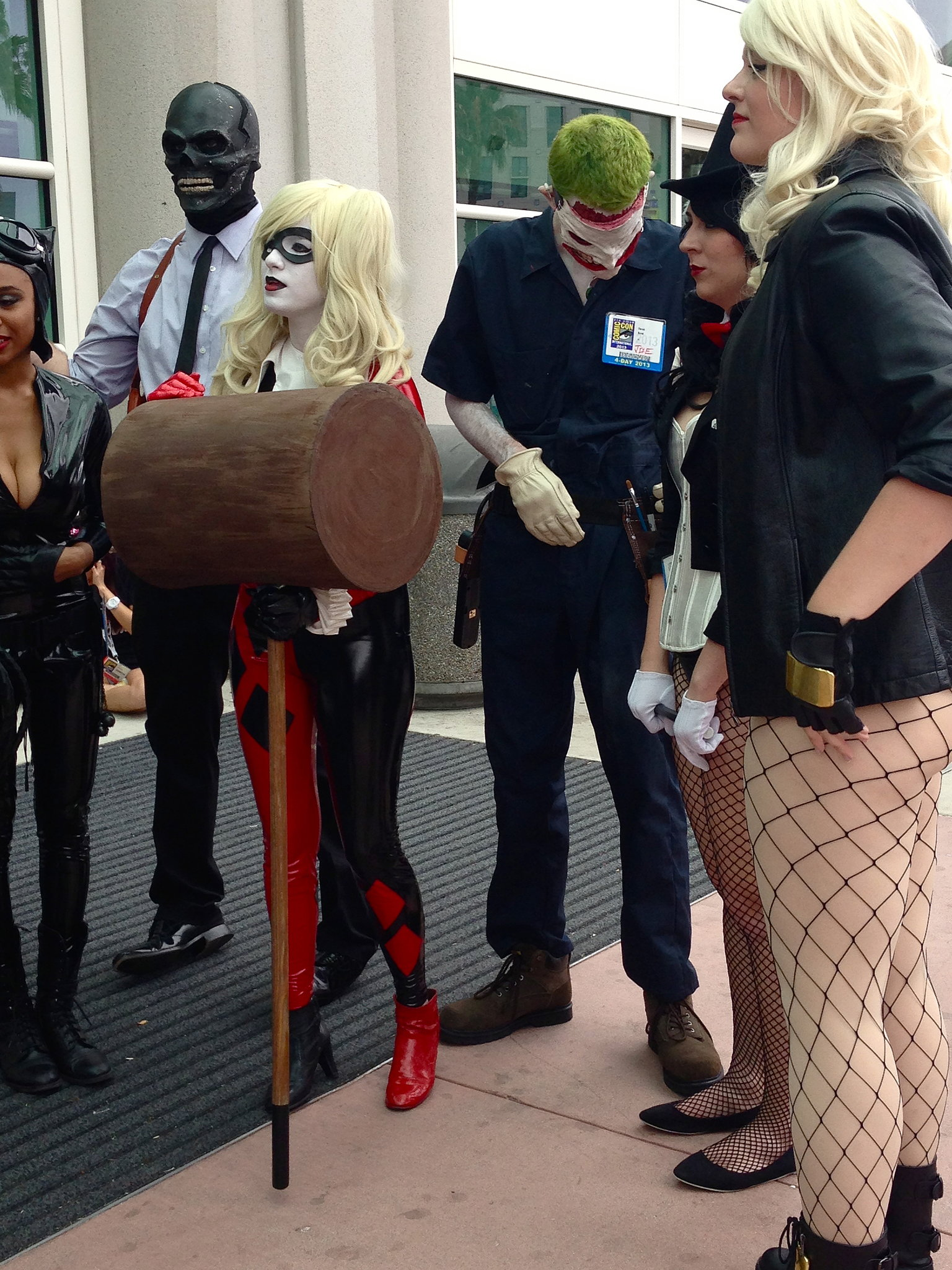 Harley Quinn's giant wooden mallet makes an appearance outside Hall H.