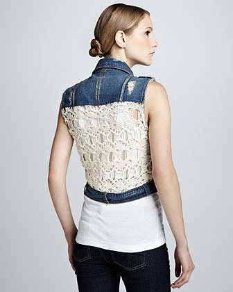 Free People Moody Blue Denim & Macrame Cargo Vest