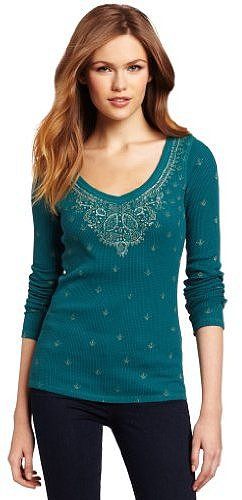 Lucky Brand Women's Sari Printed Thermal Shirt