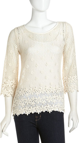 Neiman Marcus Three-Quarter Lace Top, White Sand