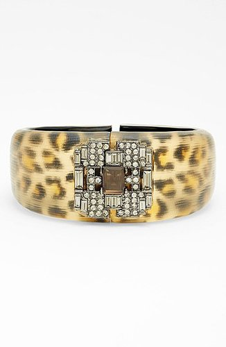 Alexis Bittar 'Lucite - Leopard Deco' Hinged Bracelet (Nordstrom Exclusive) Brown