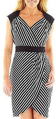 Worthington® Striped Faux-Wrap Dress