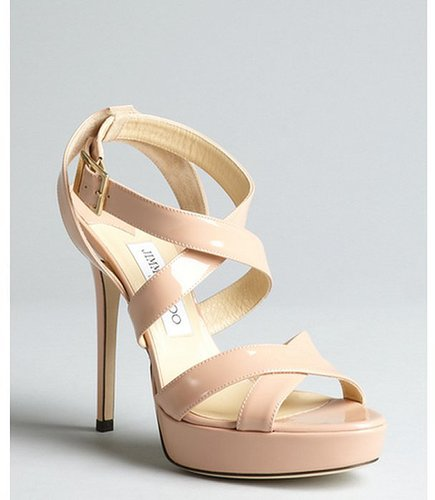 Jimmy Choo blush patent leather 'Vamp' crisscross platform sandals