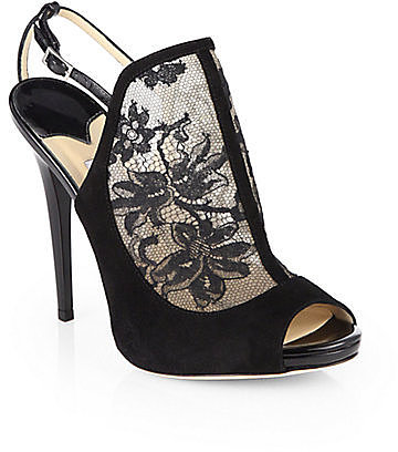 Jimmy Choo Maylen Lace & Suede Sandals