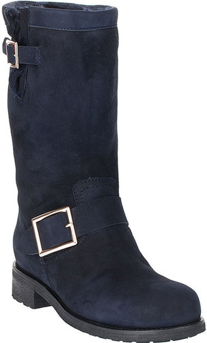 Jimmy Choo Navy suede shearling biker boot