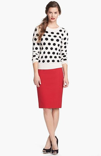 Only Mine Cashmere Blend Crewneck Sweater Dot Ivory Black Combo Small