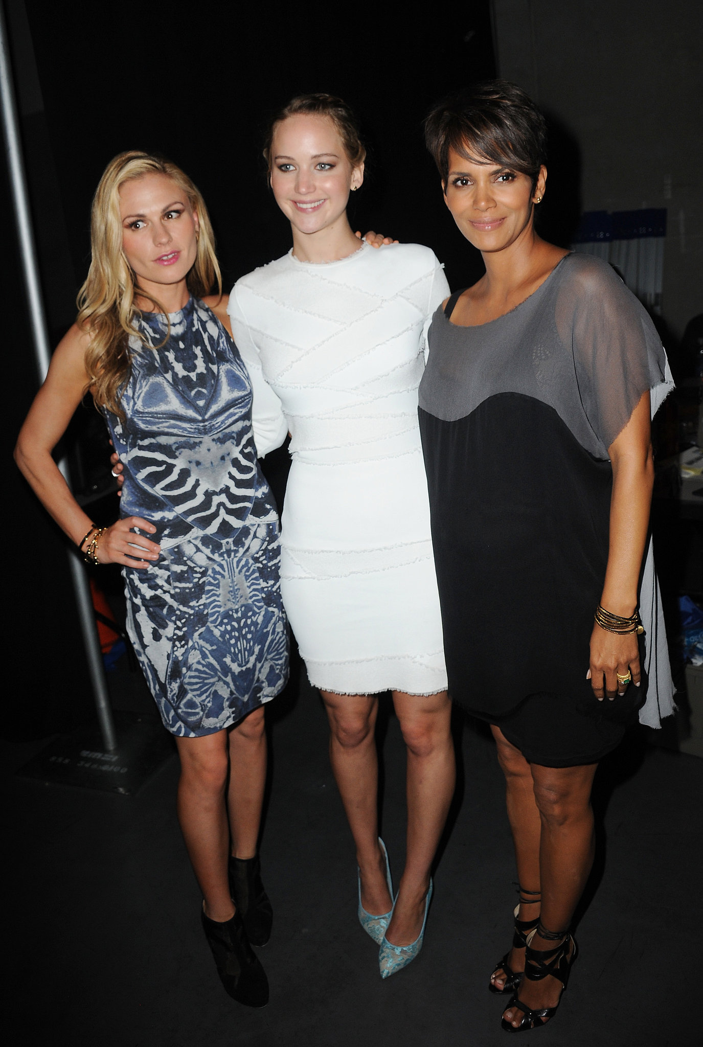 Talk about a stylish trio. Anna Paquin, Jennifer Lawrence, and Halle Berry all attended a panel for their film, X-Men: Days of Future Past. Lawrence wore a pair of Nicholas Kirkwood heels and jewelry from EF Collection with her Alexander McQueen sheath.