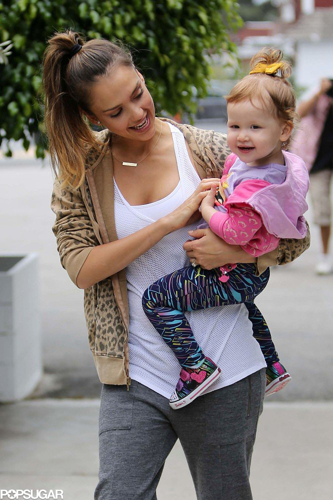 Jessica Alba gave her daughter, Haven, a tickle on the way to brunch in LA.
