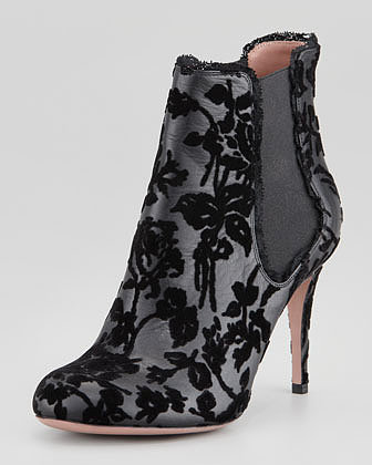 RED Valentino Flocked Lace Leather Bootie