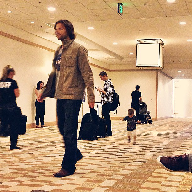 Jared Padalecki from #Supernatural is wearing a NASA shirt! And his adorbs son repping Superman, naturally.