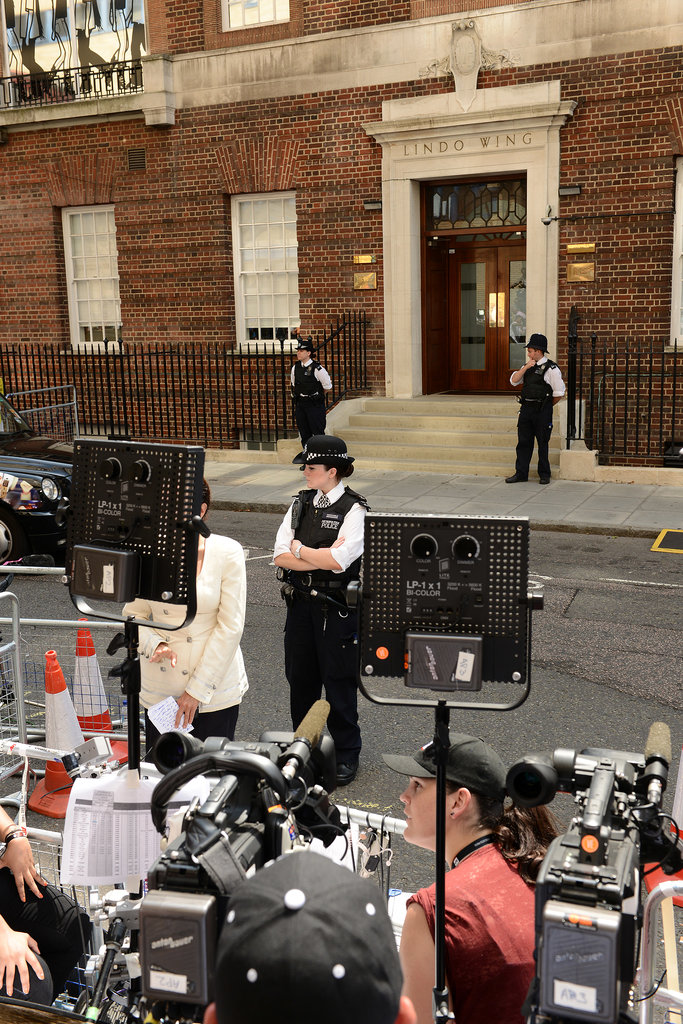 Two guards were posted outside The Lindo Wing at St. Mary's Hospital while the press prepared for the royal baby's arrival.