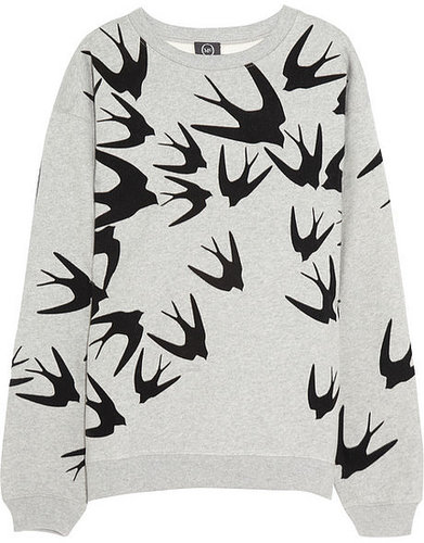 McQ Alexander McQueen Bird-flocked cotton sweatshirt
