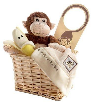 Baby Aspen Five Little Monkeys Gift Set with Keepsake Basket