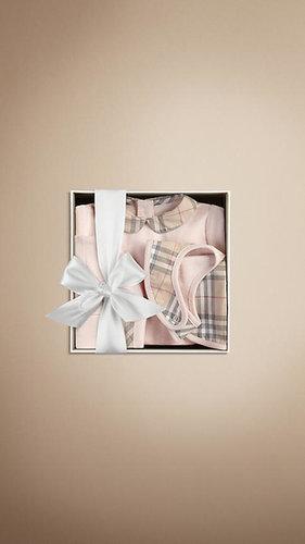 Check Collar Bodysuit Baby Gift Set