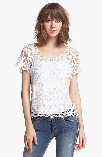 Hinge Battenburg Lace Top White Medium