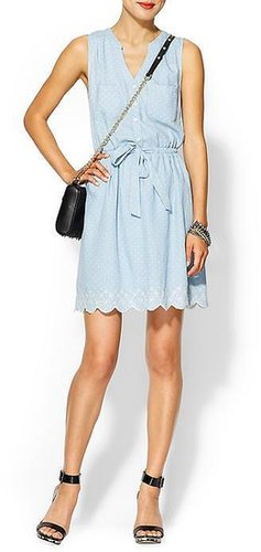 Skies Are Blue Polka Dot Chambray Dress